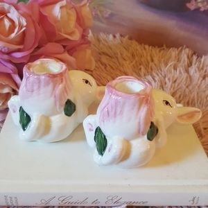 VTG Cottage Bunny Ceramic Candle Holders